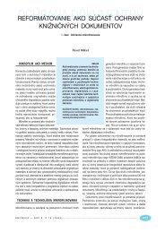 Reformátovanie ako súčasť ochrany knižničných dokumentov. 1 ...