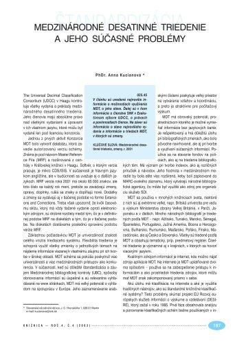 Medzinárodné desatinné triedenie a jeho súčasné problémy