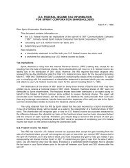 us federal income tax information for sprint corporation shareholders