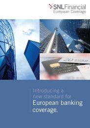 Download SNL European Coverage brochure - SNL Financial