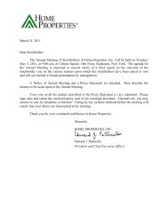 2011 Proxy Statement - Home Properties