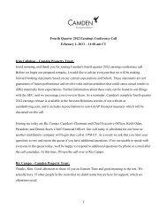 Q4 2012 Camden Property Trust Earnings ... - SNL Financial