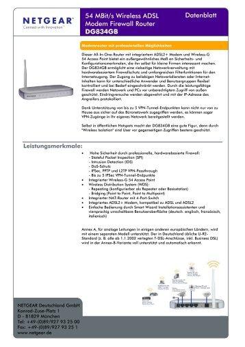 54 MBit/s Wireless ADSL Modem Firewall Router ... - Snogard