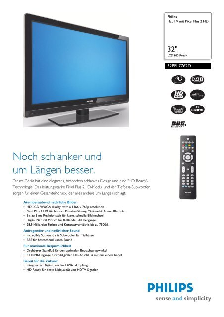 32PFL7762D/12 Philips Flat TV mit Pixel Plus 2 HD - Snogard