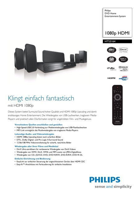 HTS3164/12 Philips DVD Home Entertainment-System - Snogard