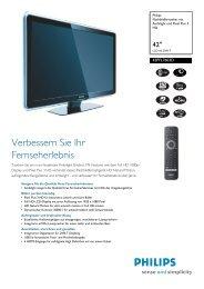 42PFL7603D/12 Philips Flachbildfernseher mit Ambilight und ... - Prad