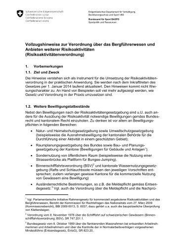 Vollzugshinweise zur Verordnung über das Bergführerwesen und ...