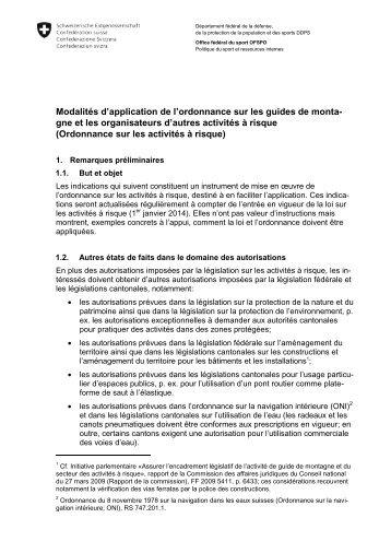 Modalités d'application de l'ordonnance sur les guides ... - admin.ch