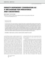 Density Dependent Cooperation as a Mechanism for Persistence ...