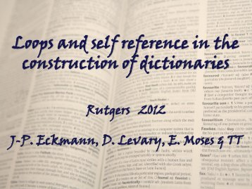 Loops and self reference in the construction of dictionaries