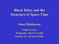 Black holes and the Structure of Space-Time - Institute for Advanced ...