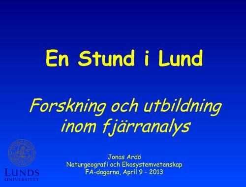 En stund i Lund: Forskning och utbildning inom fjärranalys