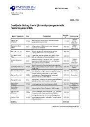Beviljade bidrag inom fjärranalysprogrammets forskningsdel 2005
