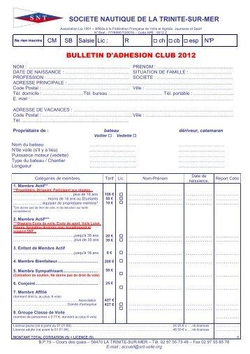 bulletin d'adhésion 2012 - Société Nautique de la Trinité sur Mer