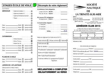 bulletin d'inscription - Société Nautique de la Trinité sur Mer