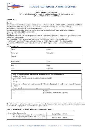 CONTRAT DE FORMATION - Société Nautique de la Trinité sur Mer