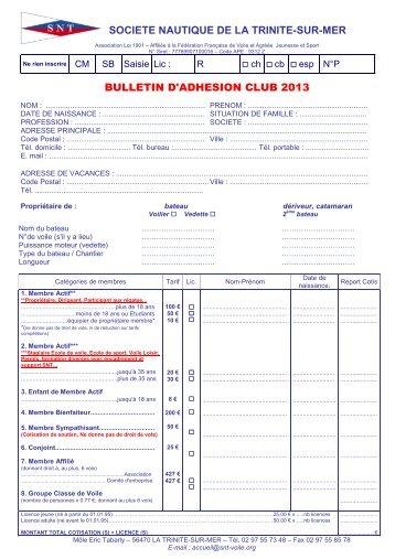 bulletin d'adhésion 2013 - Société Nautique de la Trinité sur Mer