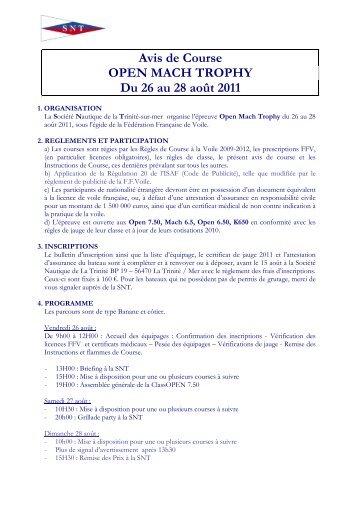 Avis de Course Open Mach Trophy 2011 - Société Nautique de la ...
