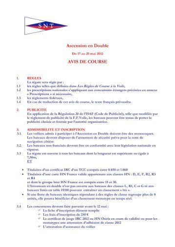 Avis de course Ascension en Double 2012