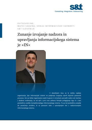 Zunanje izvajanje nadzora in upravljanja informacijskega sistema je ...