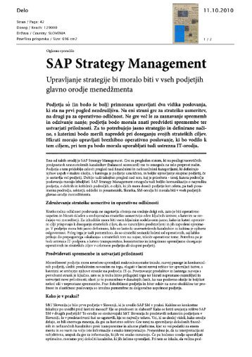 SAP Strategy Management - S&T Slovenija d.d.