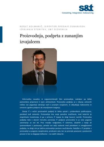 Proizvodnja, podprta z zunanjim izvajalcem - S&T Slovenija d.d.
