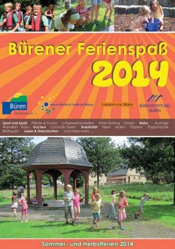 Ferienspaß Büren - Programmheft 2014