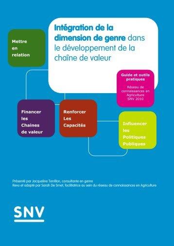 Intégration de la dimension de genre dans le développement ... - SNV