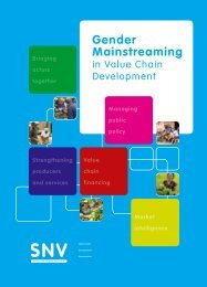 Gender Mainstreaming in Value Chain Development - SNV