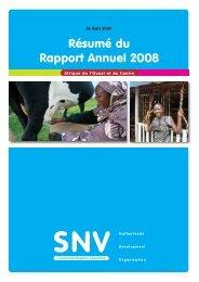 Résumé du Rapport Annuel 2008 - SNV