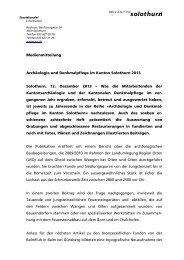 Archäologie und Denkmalpflege im Kanton Solothurn 2013