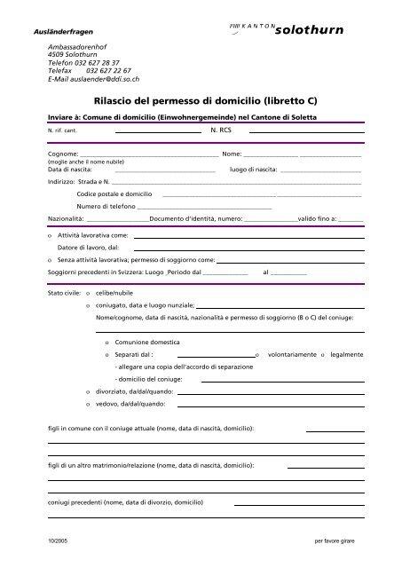 Rilascio del permesso di domicilio (libretto C)