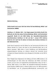 Stefan Ruchti wird neuer Chef des Amtes für ... - Kanton Solothurn