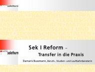Präsentation Sek. I Reform - Kanton Solothurn