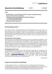 Newsletter Berufsbildung (2 / 2013) - Kanton Solothurn