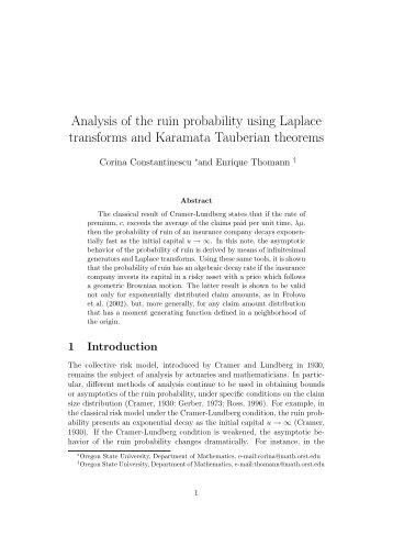 Analysis of the Ruin Probabilty Using Laplace Transforms and ...
