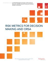 risk metrics for decision making and orsa - Society of Actuaries
