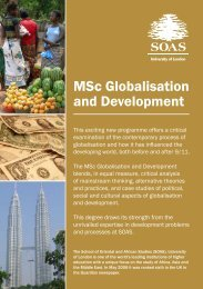 MSc Globalisation and Development - The School of Oriental and ...