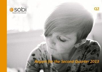 Report for the Second Quarter 2013 Q2 - Sobi