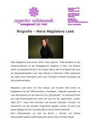 Biografie Biografie – Maria Magdalena Leeb Maria Magdalena Leeb ...