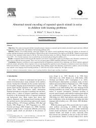 Abnormal neural encoding of repeated speech stimuli in noise in ...