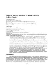 Auditory Training: Evidence for Neural Plasticity in Older Adults