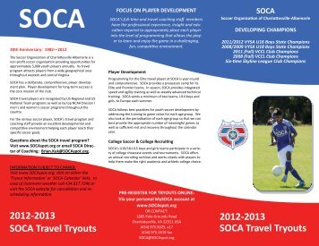 2012-2013 SOCA Travel Tryouts 2012-2013 SOCA Travel Tryouts