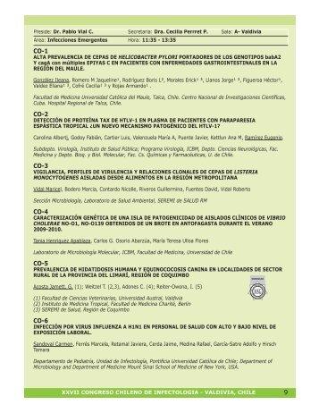 Comunicaciones Orales - Sociedad Chilena de Infectología