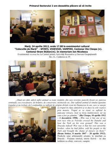 """Marţi, 24 aprilie 2012, orele 17.00 la evenimentul cultural""""Colocviile ..."""