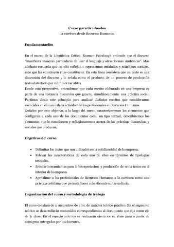 La escritura desde Recursos Humanos - Facultad de Ciencias ...