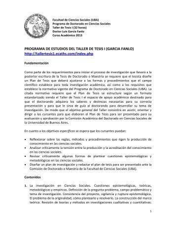 Garcia Fanlo Taller - Facultad de Ciencias Sociales - Universidad ...