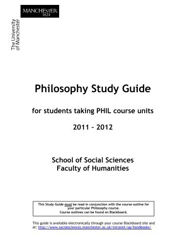 Philosophy Study Guide - School of Social Sciences - The University ...