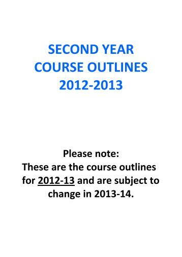 second year course outlines 2012-2013 - School of Social Sciences ...