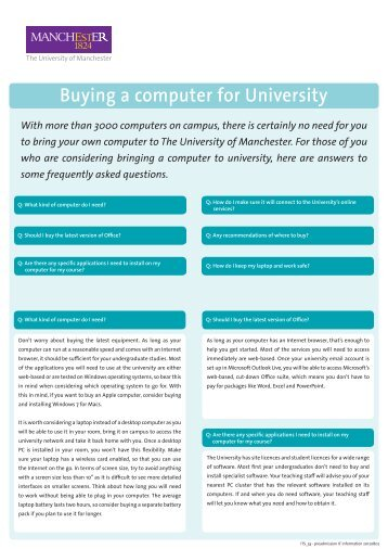 Buying a computer for University - School of Social Sciences - The ...